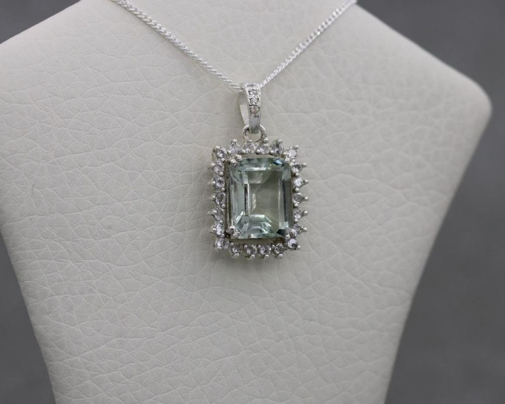 Sterling silver, green amethyst & white topaz necklace