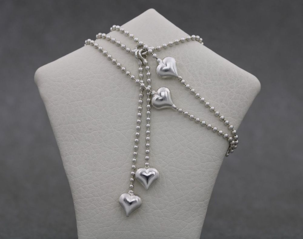 Sterling silver heart dropper necklace