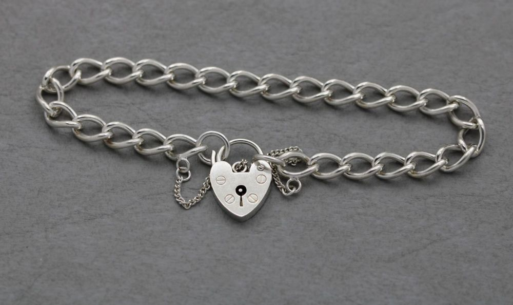 Vintage sterling silver charm bracelet with heart padlock clasp & safety ch