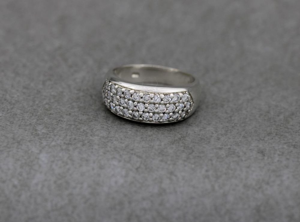 Sterling silver & tiny clear stone ring