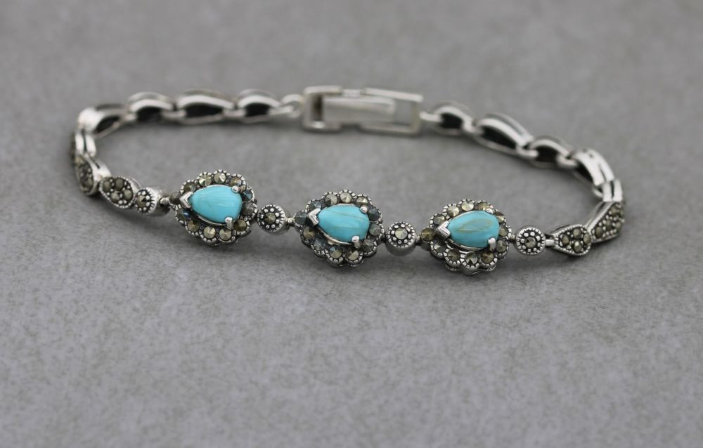 Sterling silver, turquoise & marcasite bracelet