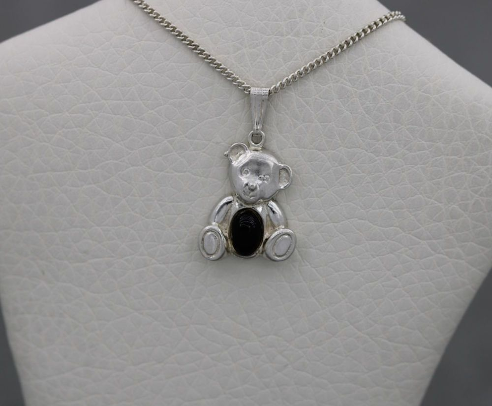 Small sterling silver jelly belly teddy bear necklace