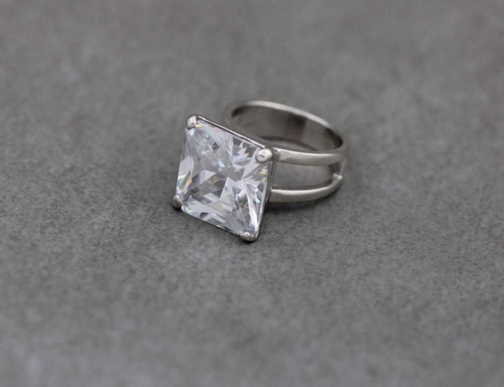 Substantial square sterling silver solitaire ring
