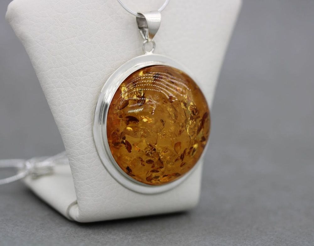 Large sterling silver & amber necklace