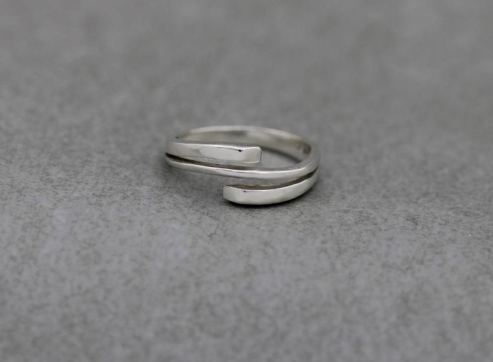 Sterling silver wrap effect ring