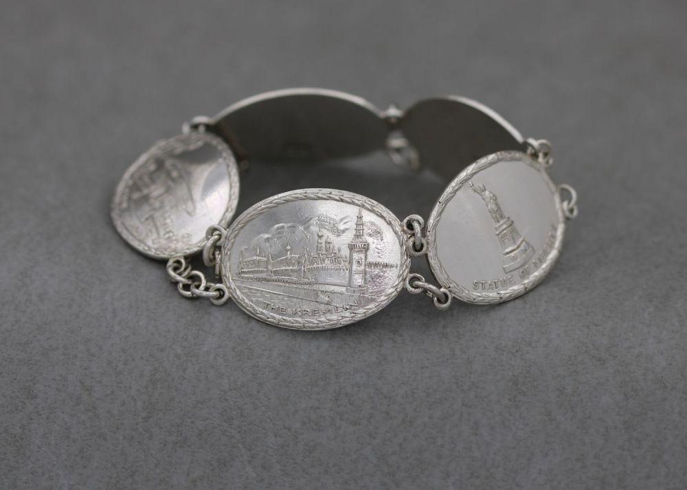 Wide vintage sterling silver world landmarks bracelet with safety chain