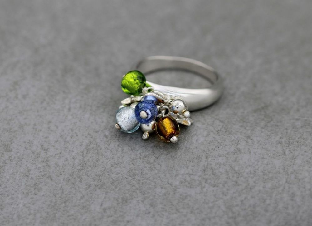 Italian sterling silver & multi-colour foiled bead charm ring with hearts &