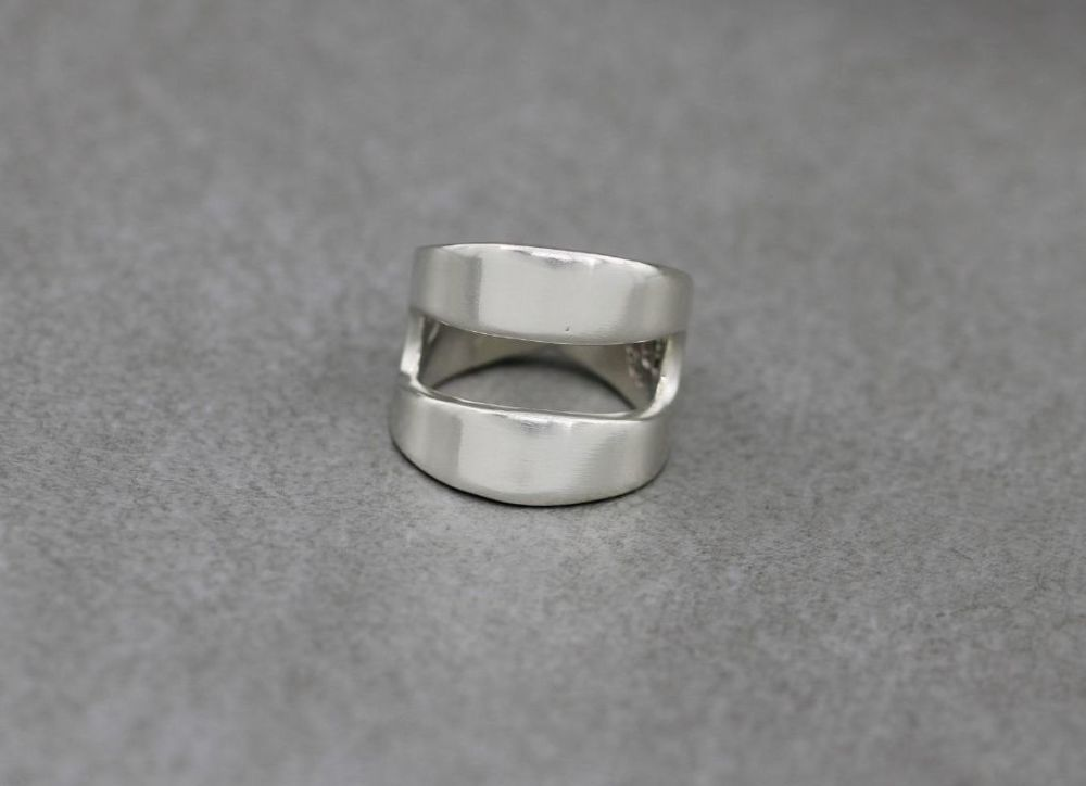 Wide vintage solid sterling silver ring