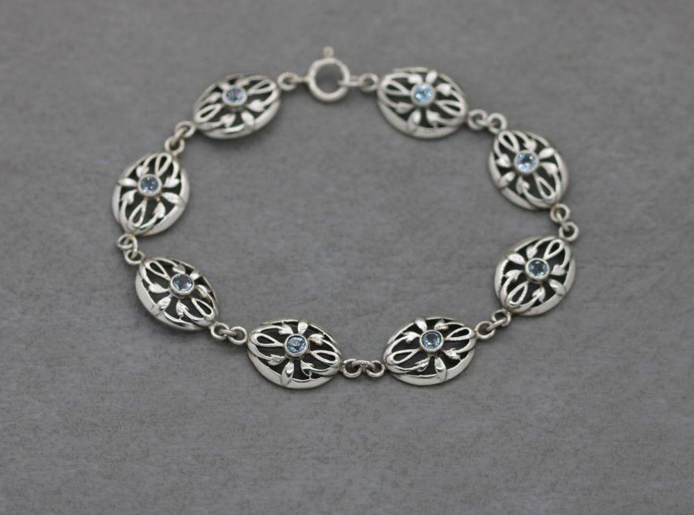 Vintage sterling silver & pale blue topaz bracelet