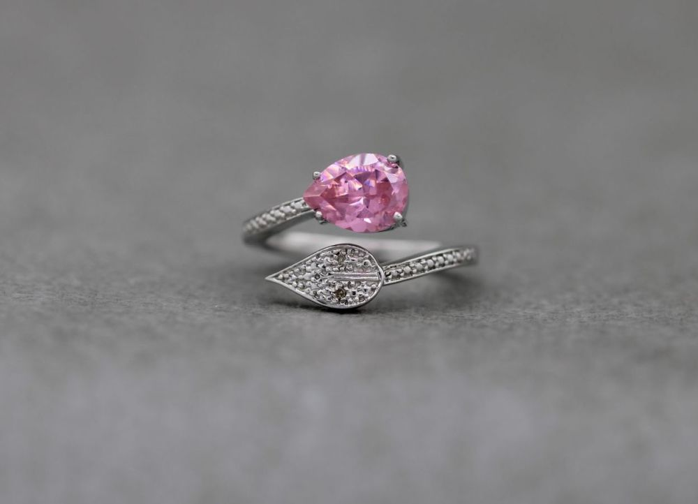 Sterling silver & pink stone bypass ring