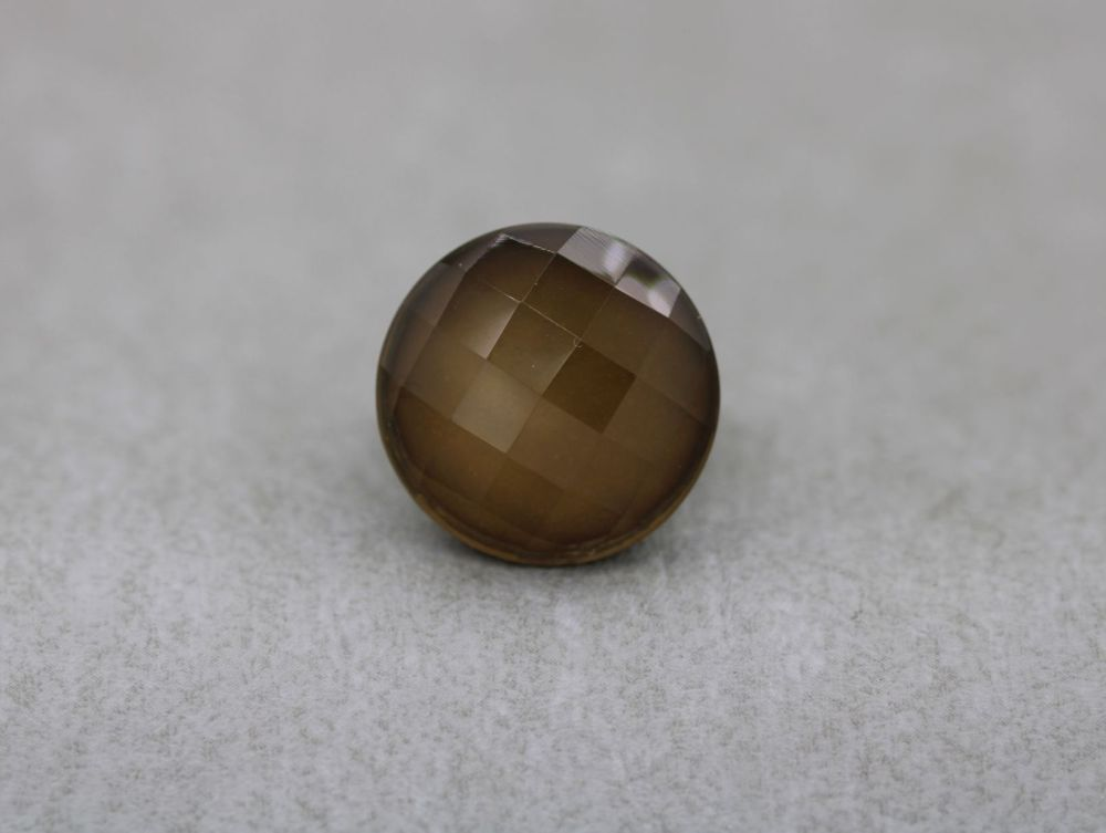 Statement sterling silver & faceted smokey quartz ring