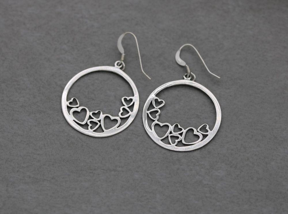 Sterling silver cut-out heart earrings
