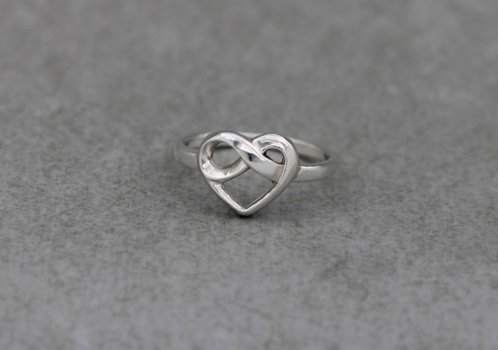 Sterling silver infinity knot heart ring