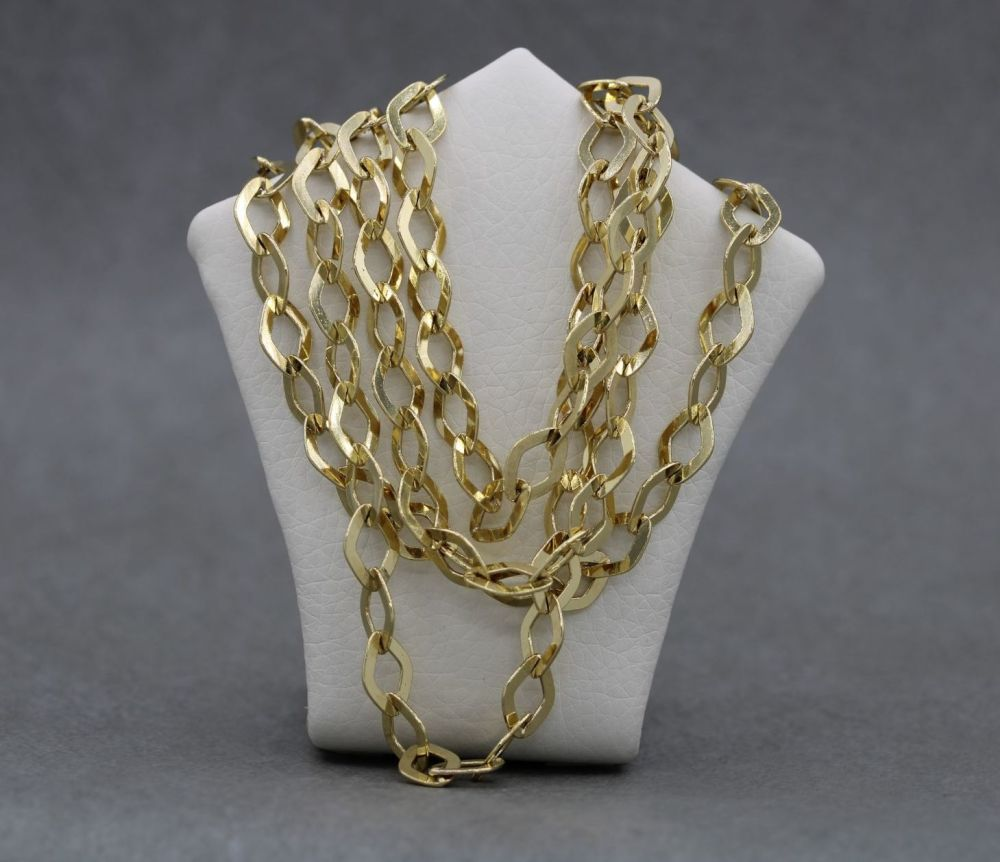 """Long gilt sterling silver diamond trace chain (39.5"""", 8mm)"""