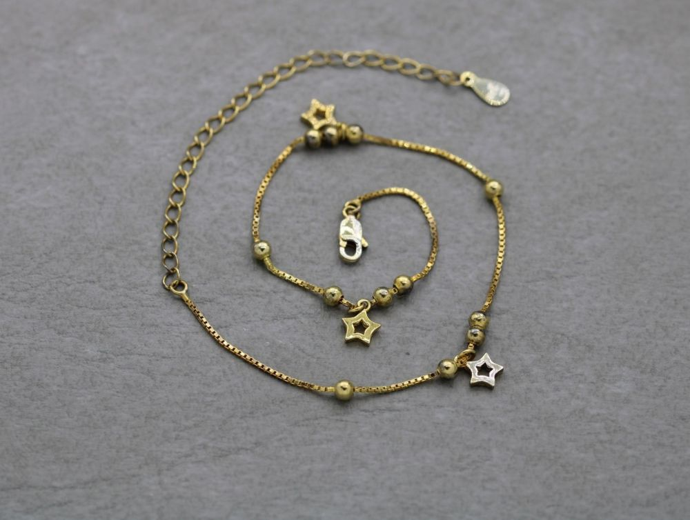 Gilt sterling silver anklet with star and bead-ball detail