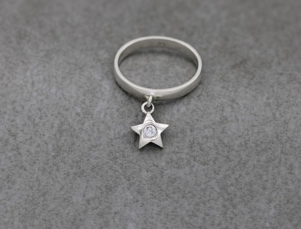 Sterling silver star charm ring