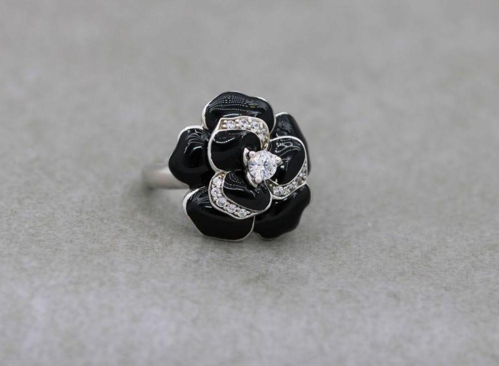 Sterling silver, black enamel & clear stone flower ring
