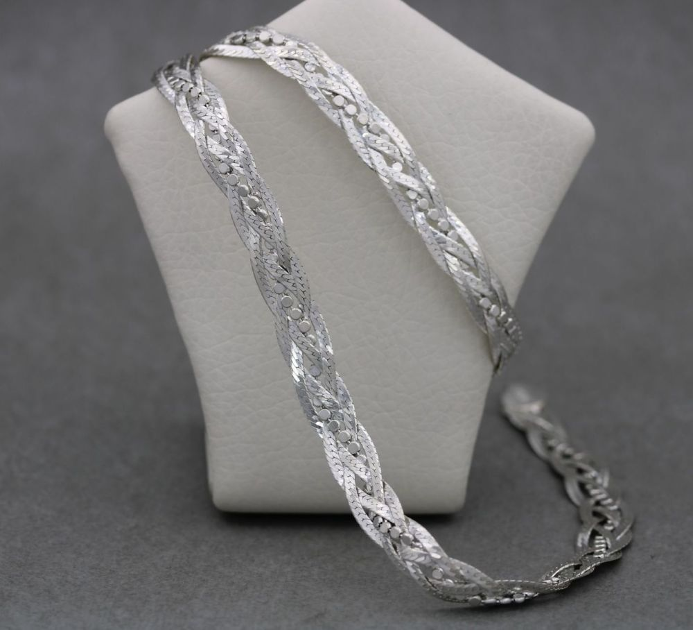 Sterling silver braided herringbone & bead chain necklace
