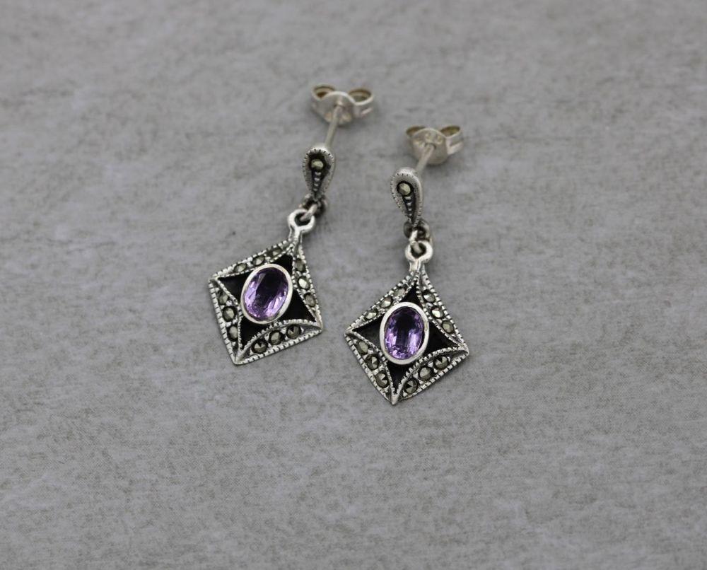 Sterling silver, amethyst & marcasite earrings