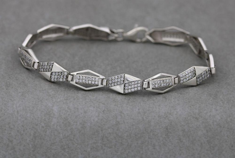 Long geometric sterling silver & tiny clear stone bracelet