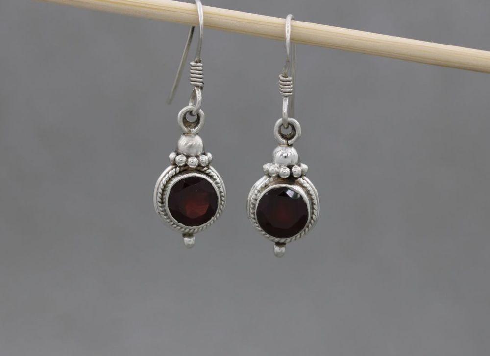 Sterling silver & garnet earrings