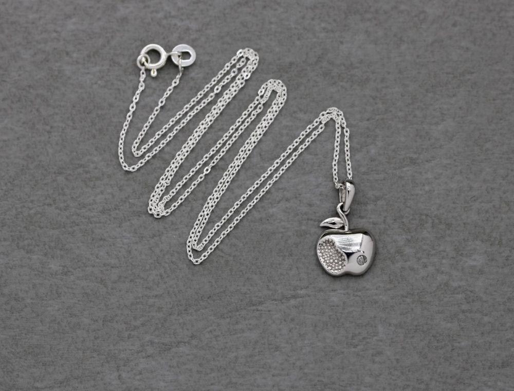 Tiny sterling silver & white topaz apple necklace