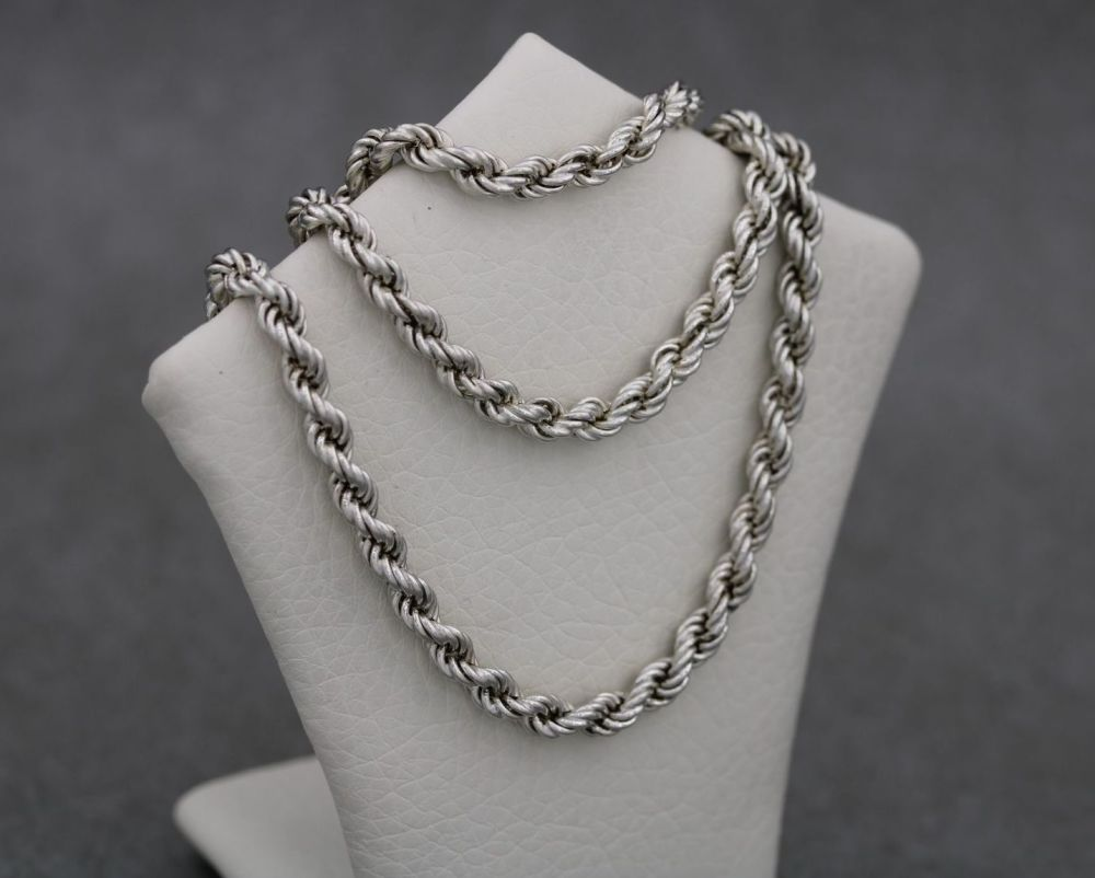 """Vintage sterling silver rope chain (18.5"""", 4mm)"""