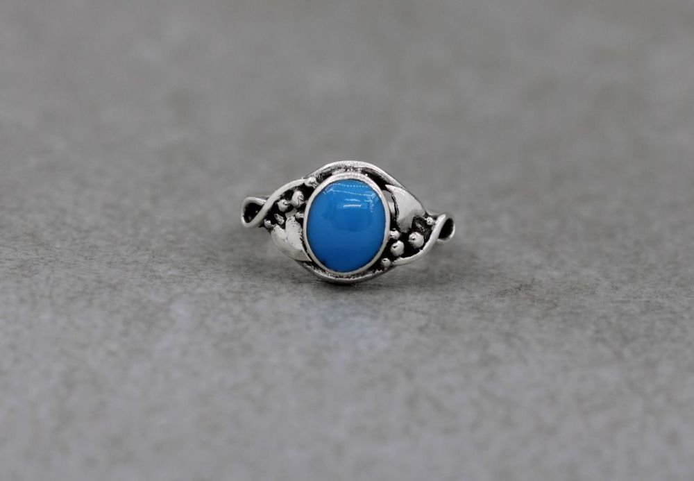 Sterling silver & blue howlite ring
