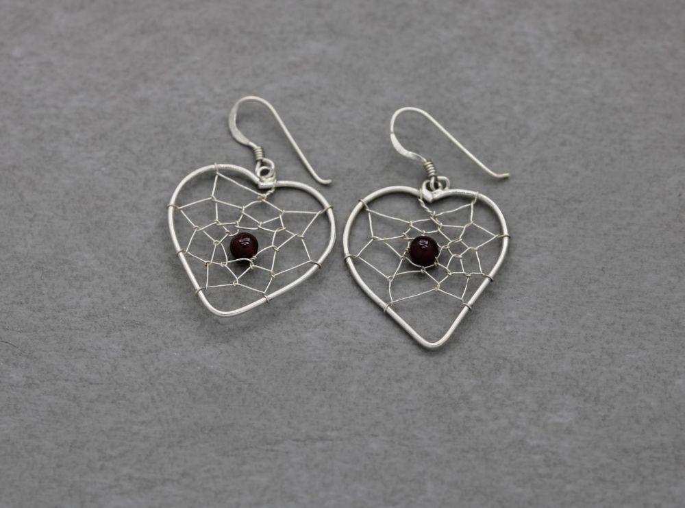 Heart shape sterling silver & garnet bead dream-catcher earrings