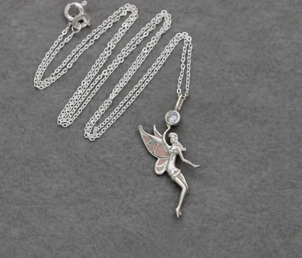 Sterling silver, pink enamel & clear stone fairy necklace