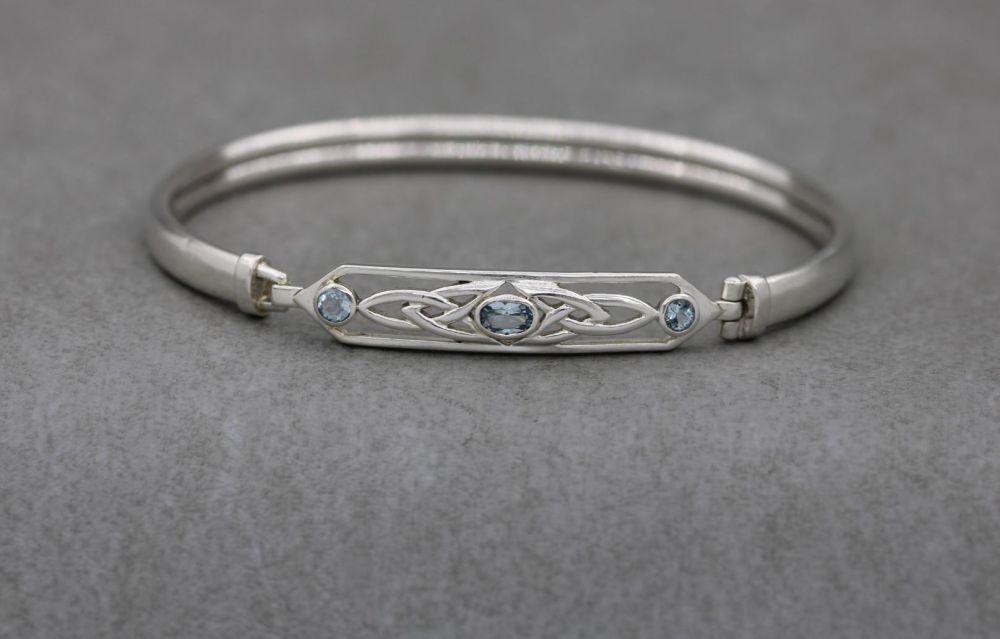 Sterling silver & blue topaz celtic bangle