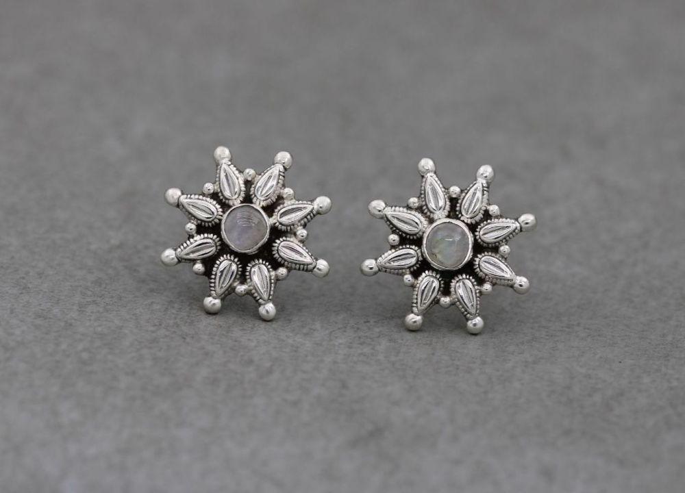 Handmade sterling silver & moonstone starburst earrings