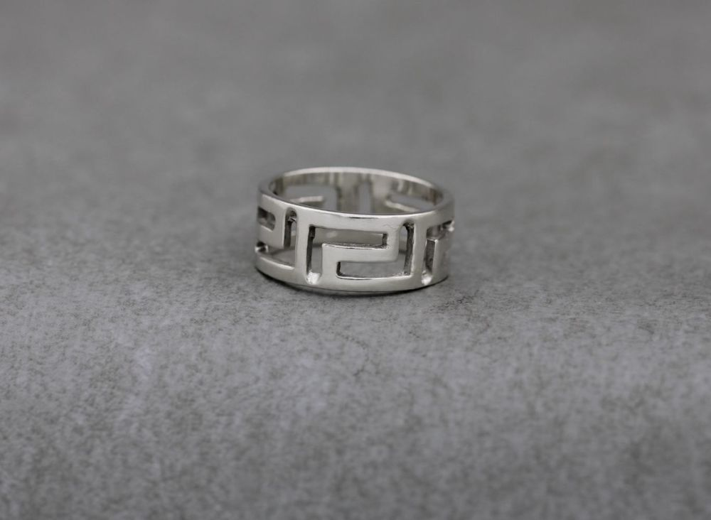 Sterling silver ring with a Greek key cut-out design