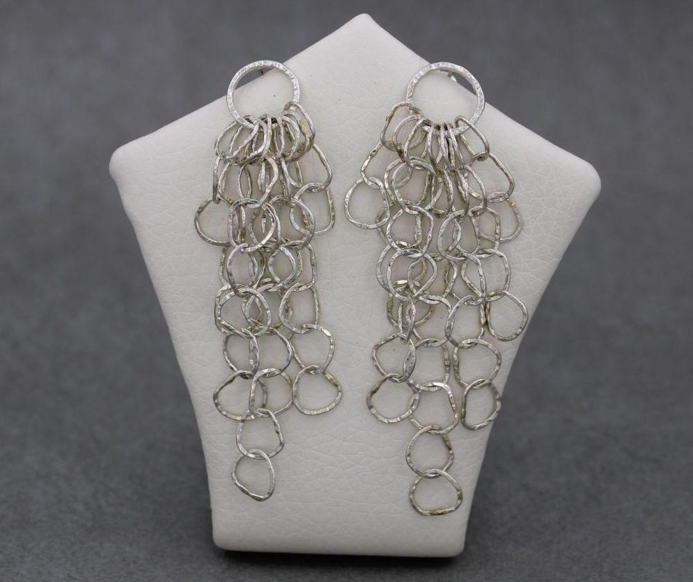 Long handmade sterling silver hammered circle tassel earrings