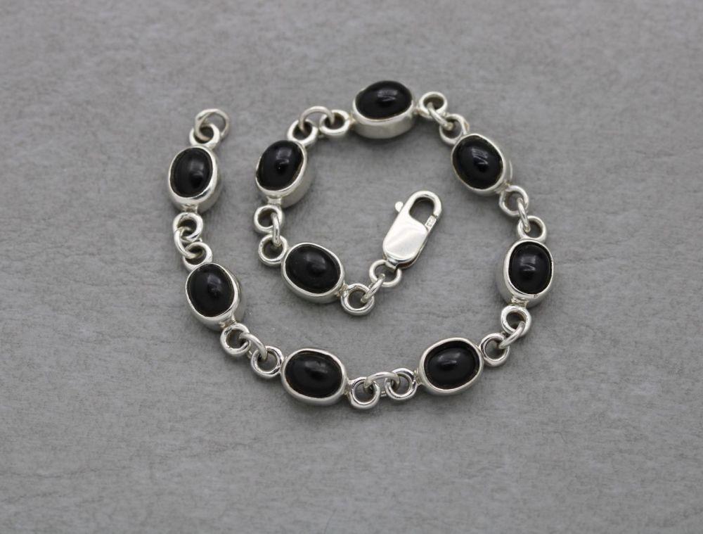 Sterling silver & black onyx cabochon bracelet