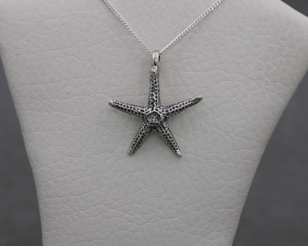 Sterling silver textured starfish necklace