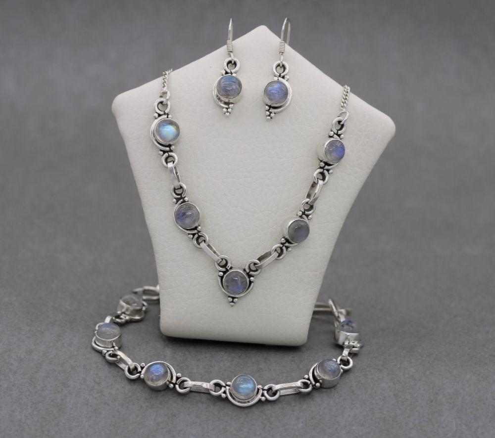 Sterling silver & moonstone set; necklace, bracelet & earrings