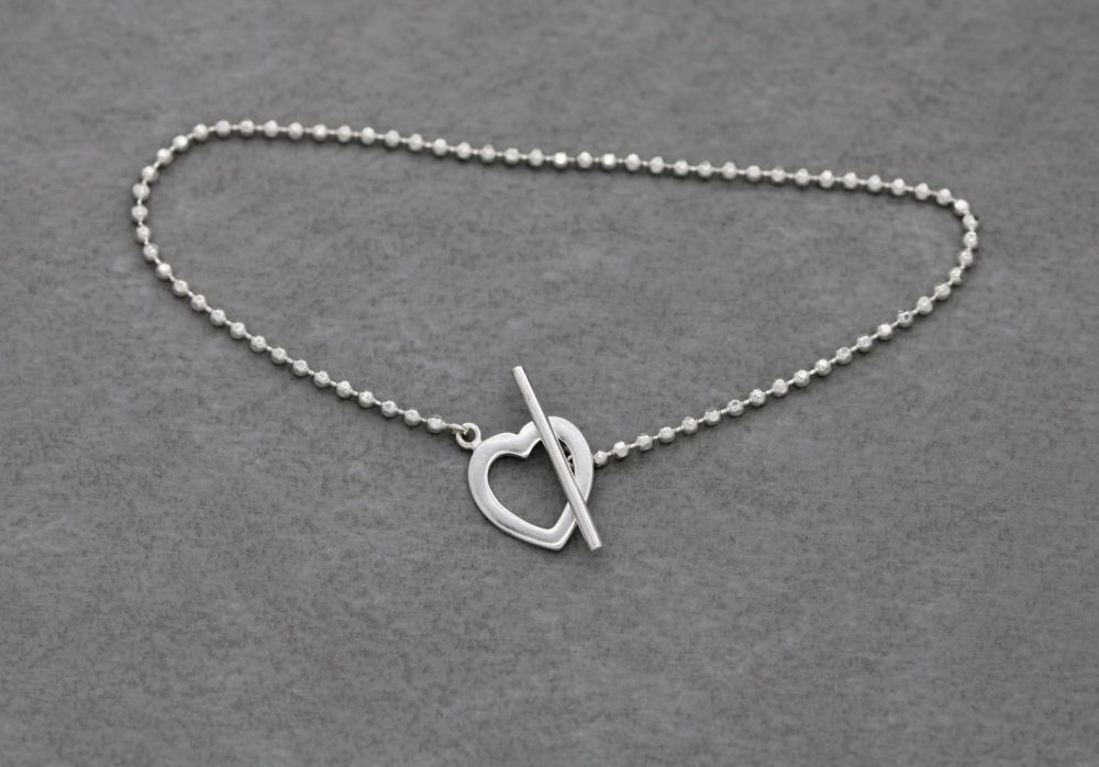 Delicate sterling silver bead chain & heart toggle bracelet