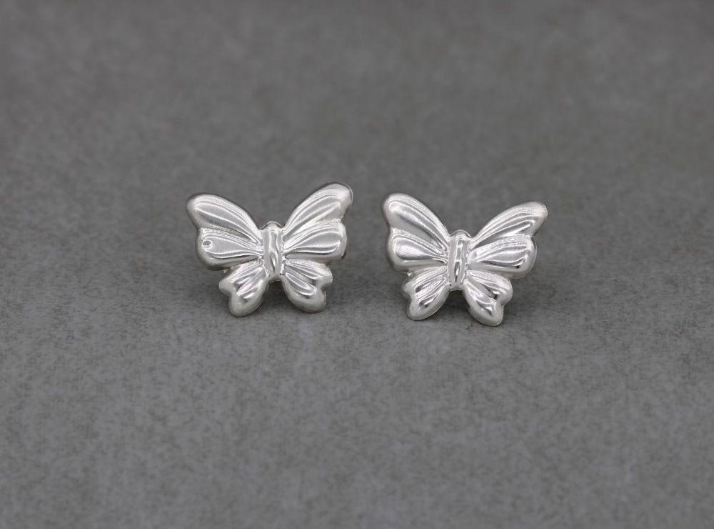 Oversize sterling silver butterfly stud earrings
