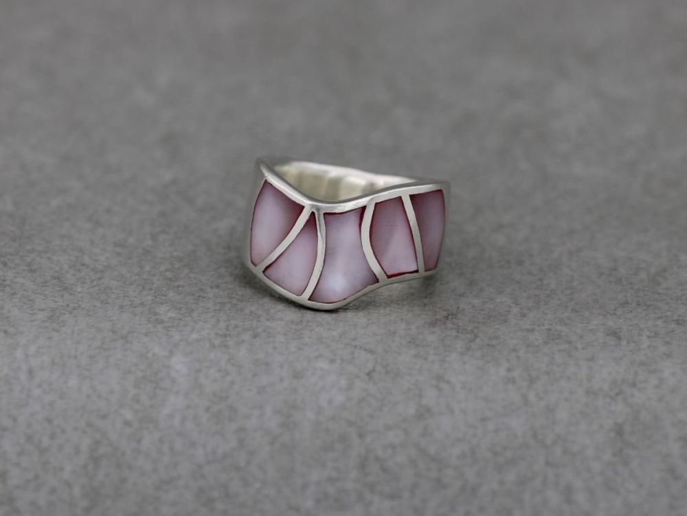 Wide sterling silver & pink mother of pearl ring