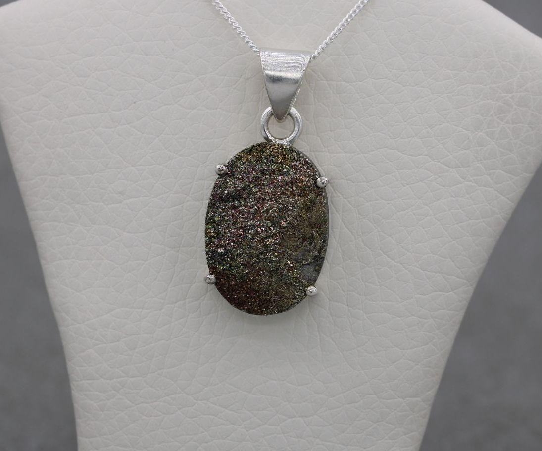 Sterling silver & golden green druzy quartz necklace