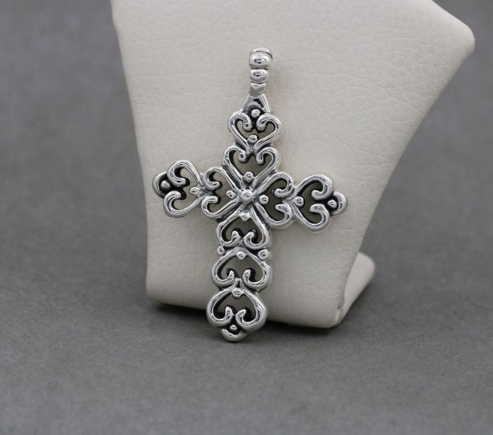 Large fancy double sided sterling silver cross pendant