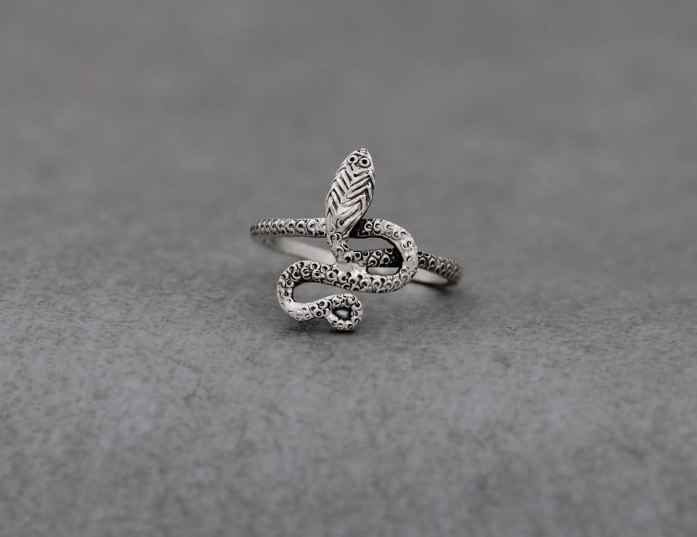 Egyptian 800 silver textured snake ring
