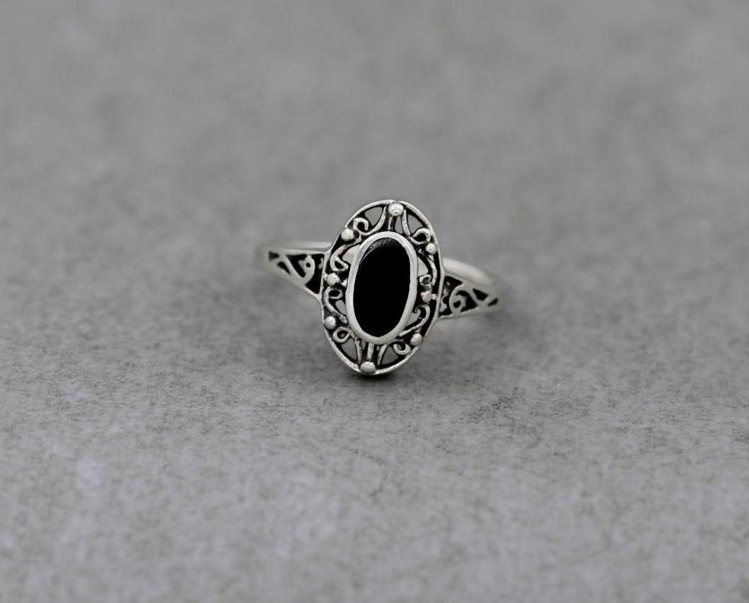 Fancy sterling silver & black onyx ring