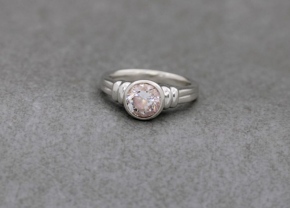 Bold sterling silver & very pale pink solitaire ring