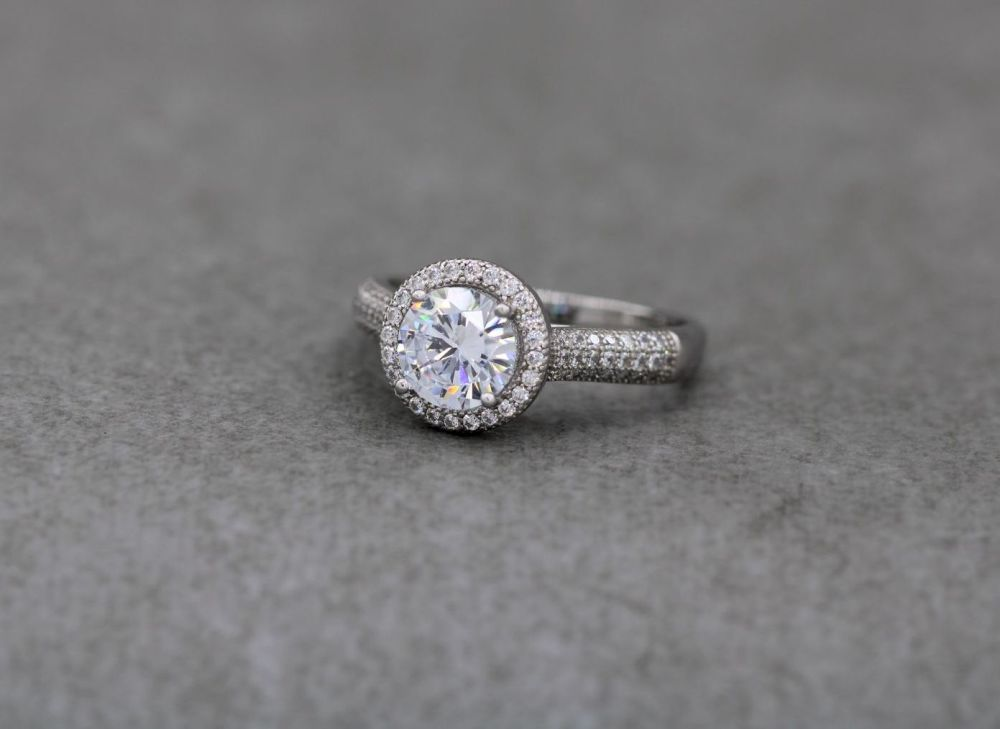 Sterling silver & clear stone accented solitaire ring