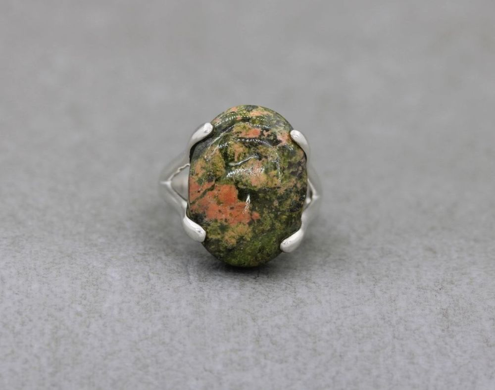 Statement sterling silver & unakite ring