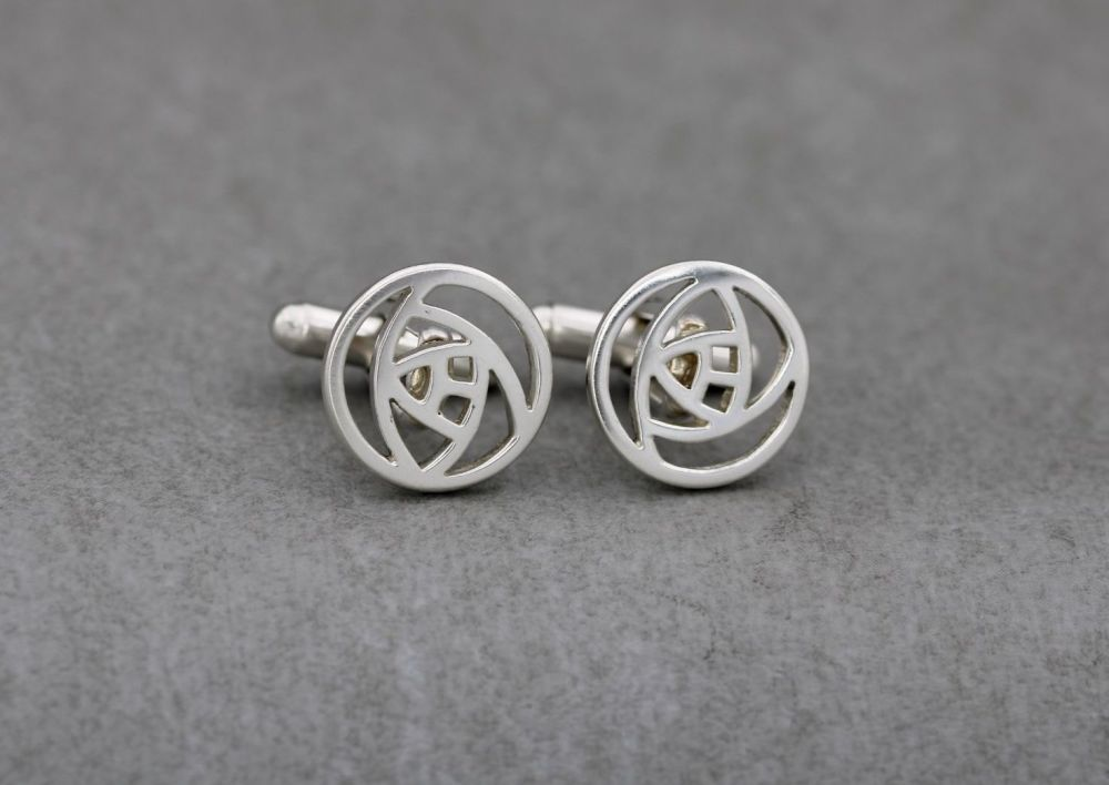 Sterling silver Glasgow rose cufflinks
