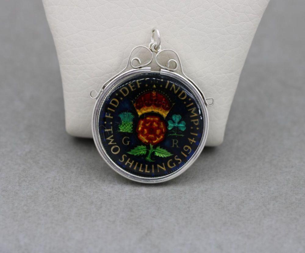 Vintage silver framed & enamelled 'Two Shillings' coin pendant