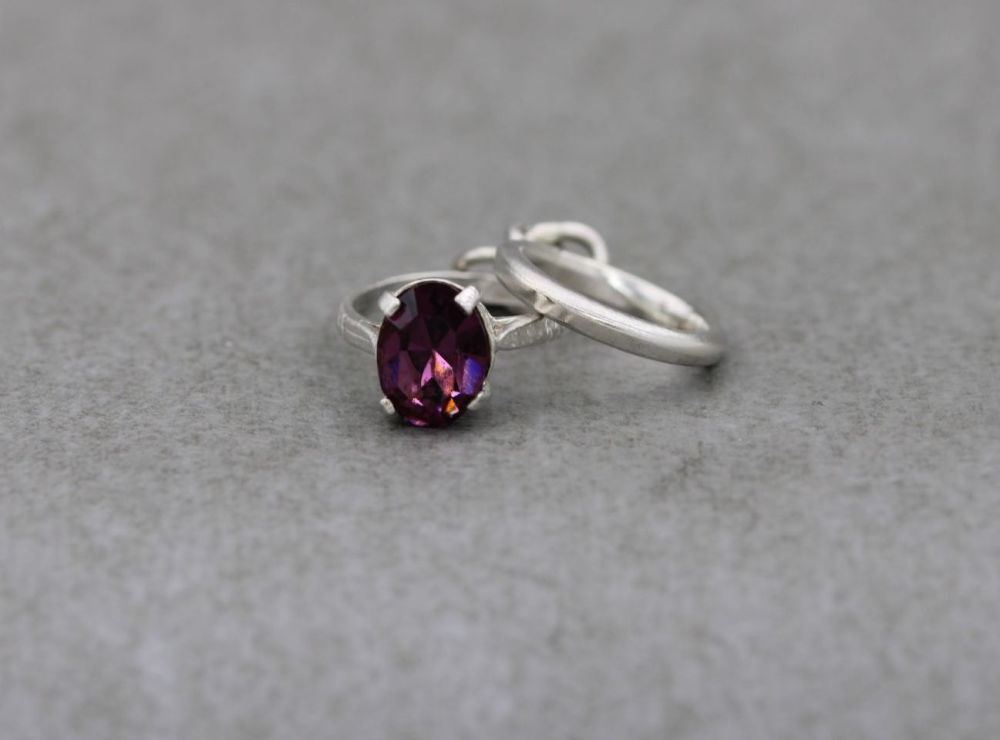 Vintage silver wedding & engagement rings charm, unusual purple solitaire